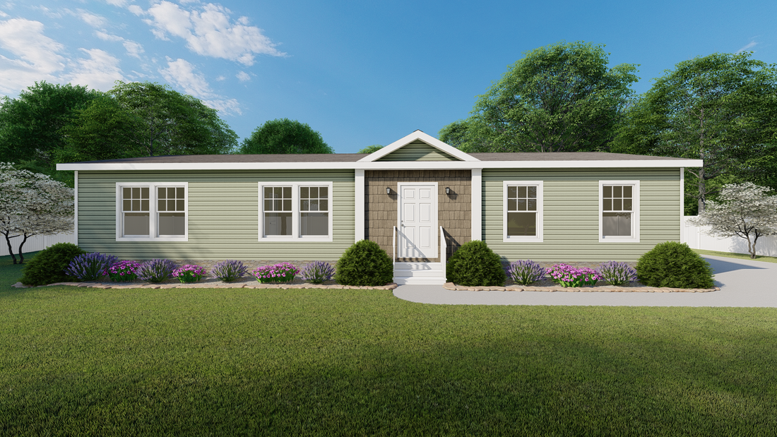 The 4608 ROCKETEER 5628 Exterior. This Manufactured Mobile Home features 3 bedrooms and 2 baths.