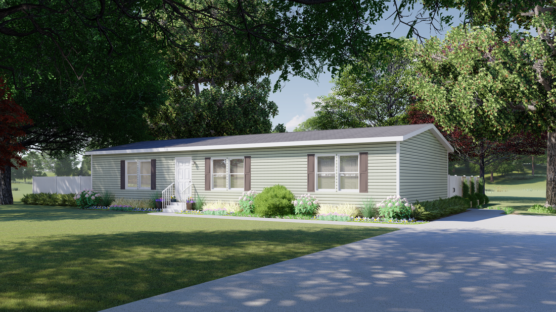 "The 4611 ""HOMESTEAD"" 6028 Exterior. This Manufactured Mobile Home features 3 bedrooms and 2 baths."
