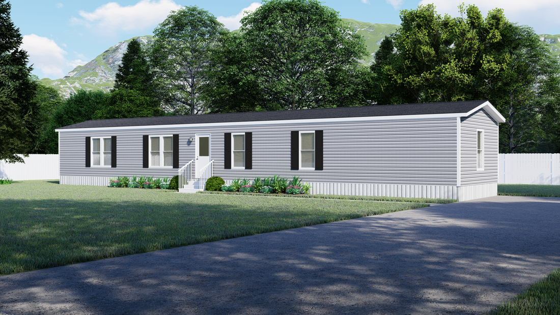 The 930 THE SAVANNAH 7616 Exterior. This Manufactured Mobile Home features 3 bedrooms and 2 baths.