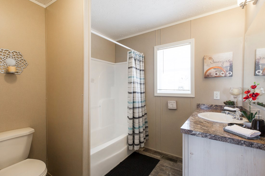 The 900  ADVANTAGE PLUS 5616 Master Bathroom. This Manufactured Mobile Home features 2 bedrooms and 2 baths.