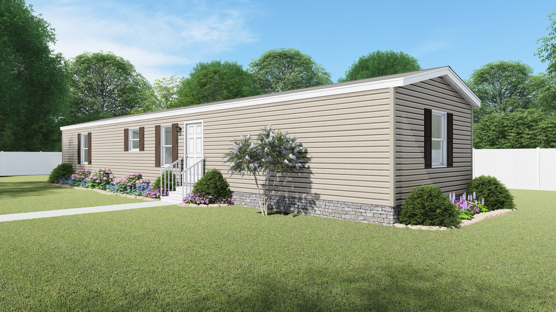 The 4615 ADVANTAGE PLUS 6616 Exterior. This Manufactured Mobile Home features 3 bedrooms and 2 baths.